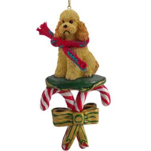 Apricot Poodle Candy Cane Ornament
