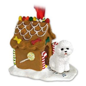 Bichon Frise Gingerbread House Ornament